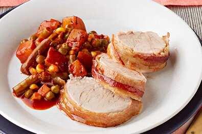 Saucy Bacon-Wrapped Pork Tenderloins
